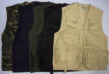 Mens Fishing Vest Hunting Multi Pocket Sleeveless Utility Zip Shooting Travel