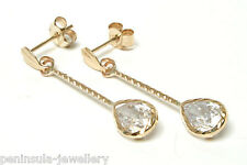 9ct Gold CZ Teardrop Earrings Made in UK Gift Boxed