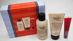 NEW Philosophy Xs and Os Collection Vanilla Cream Bath Kit Cherry Lip Gloss