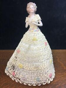 Vintage Porcelain Half-Doll w/ Elegant Handmade White Quilled Paper Art Dress