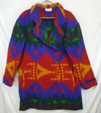 NEIMAN MARCUS Wool Indian SW Print Shawl Collar Coat Jacket Sz L