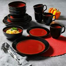 Dinnerware Set 16-Piece Dishes Plate Mug Dining Stoneware Microwave-Safe Red