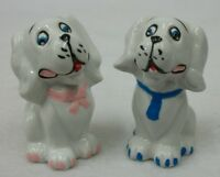 Vintage White Dogs Girl in Pink Bow & Boy in Blue Tie Salt and Pepper Shaker Set