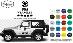 JEEP USA WRANGLER MILITARY style large decals