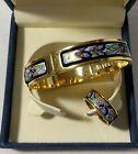 Frey Wille Claude Monet Iris Ballerina Bangle & Ring 24kt Gold plated