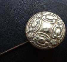 "antique Victorian 10"" brass repousse flower hinged cork insert long hat pin 569"
