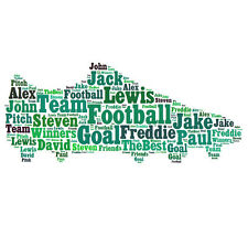 Personalised Football Boot Word Art Print Any Team Gift Son Brother Birthday