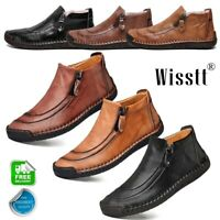 Men's Leather Casual Soft High Top Warm Boots Dress Shoes Fur Lined Non-Slip