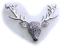 Damen Collier Hirsch Silber 925 Sterlingsilber Zirkonia Halskette Geweih Qualitä