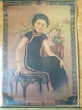 Vintage Chinese Cigarette Ad Calendar Poster.  Lady In Black.