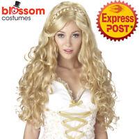 W556 Mythic Goddess Greek Roman Long Braids Blonde Ancient Costume Wig Medieval