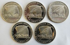 Lot of 5 1987 S Proof Constitution 90% Silver Dollars Less Than Perfect Coins