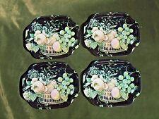 """4 Vintage ELITE Metal Trays 7 1/2"""" x 6""""  Black w/ Floral & Fruit Design England"""