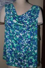 Covington Petite XLPetite Blouse Blue/green/white Sleeveless Msrp $30 Now $9.99