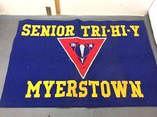 """1930's Myerstown PA YMCA Tri-Hi-Y Social Club Felt Banner 33""""x22.5"""""""