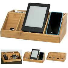 Charging Station Organizer Bamboo Multi Device Charger Stand Gift Phone Camera