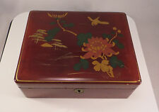 Japanese Brown Lacquer Wood Jewelry Box Flowers Bird Japan
