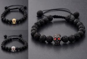 8MM Lava Stone Clear CZ Pave Death Skull Bracelets Adjustable Punk Bracelet Gift