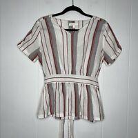 Anthropologie Eri + Ali Women's Striped Linen Top Peplum Tie Waist White Red S