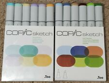 Lot of 2 Sets Copic Sketch Markers Earth Essentials & Pale Pastels 12 Markers