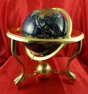 9.25'' Tall Handcrafted Gemstone World Map Globe