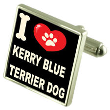 I Love My Dog Silver-Tone Cufflinks Kerry Blue Terrier