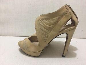 FENDI - Sand/Beige - Soft Suede & Mesh Open Toe Sandals Sz 37.5/US7/UK4.5/AU6.5