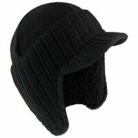 MENS PEAKED GERMAN STYLE BEANIE HAT EAR WARMERS THERMAL WINTER WARM INSULATED UK