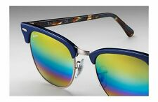 Ray-Ban Clubmaster RB3016MB 1223C4 51 Blue frame, w/ Rainbow Flash Mirror 51mm
