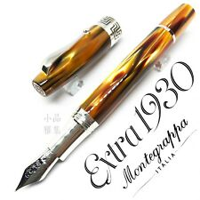 Montegrappa Extra 1930 Ag925 Sterling Silver Brown Celluloid Fountain Pen