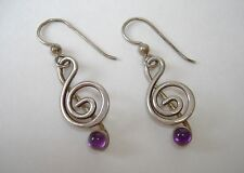 Clef Note Amethyst Earrings Sterling Silver Unique Handmade Dangle Pierced Gift