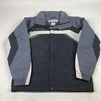 Columbia Mens Waterproof Jacket Coat Size M Gray Black White Zip Front