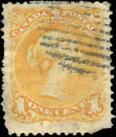 1869 Used Canada F Scott #23 1c Large Queen Issue Stamp