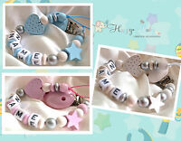 Personalised Wooden Dummy Clip/Chain GLITTER  HEART & Star - Baby Shower Gift
