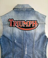 """Large sew on patch 10"""" TRIUMPH red / white lettering for vests & jackets"""
