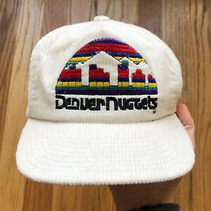 Men's Vintage 90's Sports Specialties Denver Nuggets White Corduroy Snapback Hat