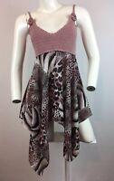 Kaelyn Max Tank Top Womens M Blouse Crochet Sheer Blush Pink Animal Print Cami