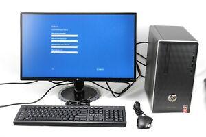 """Refurbished HP 590 P0103WB Desktop PC 24"""" FHD Monitor AMD Ryzen 3 2200 1TB, 8GB"""