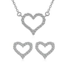 Damen Herz Liebe Schmuckset Halskette Ohrring Ohrstecker aus 925 Sterlingsilber