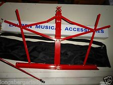 Folding Red Music Stand With Bag Case Stage Studio School Home Practice Holder !