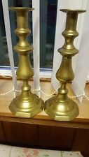 Pair Early Vintage English Brass Church Candlesticks Candle Holders Xmas