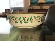 """Lenox Holiday Berries, Ivy, & Gold Fine China Porcelain Serving Bowl 9.25"""" X 3""""."""