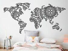 Wall Sticker Mandala World Map Yoga Vinyl Art Pattern Home Decoration Decals