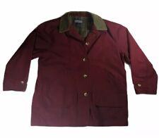 Lands End Womens Barn Jacket Coat - Size L (14- 16) - Burgundy Maroon - Cotton