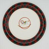 "Arita Tartan Christmas Dessert or Salad Plate with Rocking Horse 8"""