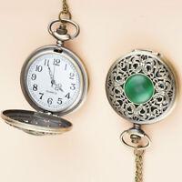 Neu Smaragd Retro Uhren  Taschenuhr Bronze Quarz Taschenuhr Quarz Uhr Halskette.