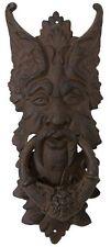 "GARGOYLE DOOR KNOCKER cast iron LARGE 21"" rust GREEN MAN CELTIC LEAF metal"