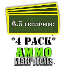 """6.5 Creedmoor Ammo Label Decals Ammunition Case 3"""" x 1"""" sticker 4 PACK -YWagRD"""
