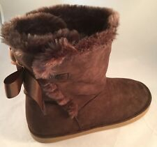 Lands End Girls Lilly Cozy Short Boot Chocolate Brown Pull-on Youth Size 7