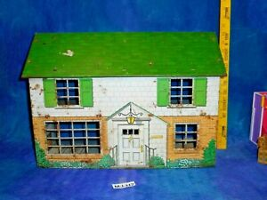 Vintage 50s Tin Metal Marx Colonial Litho Dollhouse Doll House 5 Rooms MJ-H2